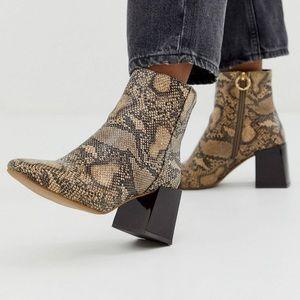 Snake skin chunky heeled boots